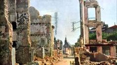 A street in Verdun, France, after 8 months of bombing, Sept. (Jules Gervais-Courtellemont—Ullstein Bild-Leone/The Image Works) National Geographic Society, World War One, First World, Ww1 Battles, Albert Kahn, Ww1 Art, Flanders Field, Military History, Color Photography