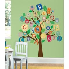 Dekorace na zeď - samolepka Strom Abeceda