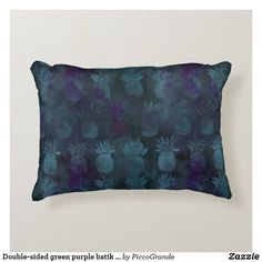 Double-sided green purple batik style and custom accent pillow Soft Pillows, Accent Pillows, Throw Pillows, Personalized Buttons, Batik Pattern, Pillows Online, Pineapple Pattern, Home Decor Online, Green And Purple