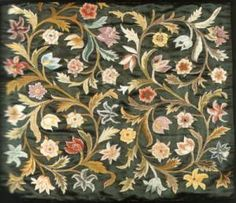 pillows with floral scrolls, needle painting, England, Royal School of Art Needlework,   64cm since 1872, 56.5 x