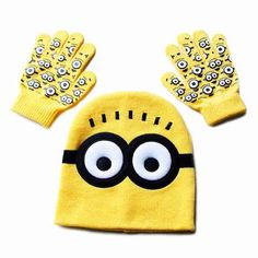 Cartoon Minions Glove And Winter Hat Sets //Price: $10.95 & FREE Shipping //