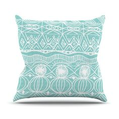East Urban Home Catherine Holcombe Outdoor Throw Pillow Color: Turquoise