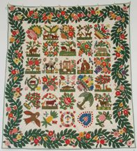 The Berger-Miller Family quilt is an extraordinary representation of Style 3 Baltimore quilts. Thirty blocks are jam-packed into this stunning example, including fish, ears of corn, bee hives, and various cats, dogs and people. Each block is a folk art masterpiece, highly stuffed, with extensive embroidery details. The Jane Katcher Collection of Americana.