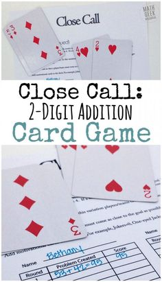 This addition card game is a super simple way to practice addition skills, but also encourage problem solving and deepen an understanding of place value. Even though it's simple to set up and play, the math will challenge and strengthen your kids skills. Easy Math Games, Math Card Games, Card Games For Kids, Math For Kids, Math Activities, Math Resources, Dice Games, Mental Maths Games, Third Grade Math Games