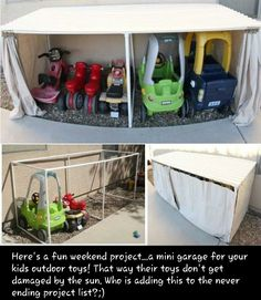 Yes please! Although I have no yard or space to put something like this but maybe in a future home... we have 3 bikes, 1 scooter, 1 scoot n zoom, 1 tot pusher, 1 cozy coupe and 1 wagon... hmmm, where do they all go?