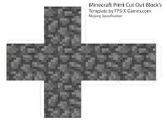 Minecraft cobble block papercraft cut out