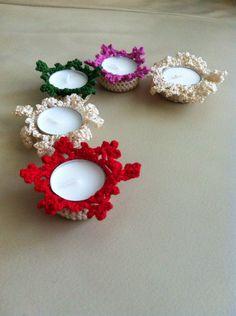 Crochet tealight holders