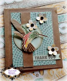 Mary Blocher Independent Stampin' Up! Mood Card, Bird Cards, Butterfly Cards, Paper Cards, Cards Diy, Thanks Card, Hand Stamped Cards, Stampin Up Catalog, Embossed Cards