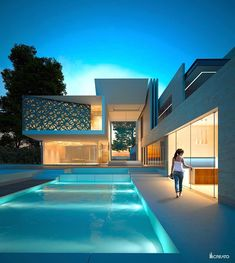 Modern architecture house design with minimalist style and luxury exterior and interior and using the perfect lighting style is inspiration for villas mansions penthouses Modern Architecture House, Architecture Portfolio, Residential Architecture, Amazing Architecture, Architecture Design, Arch Building, Modern Villa Design, Dubai, Dream Mansion