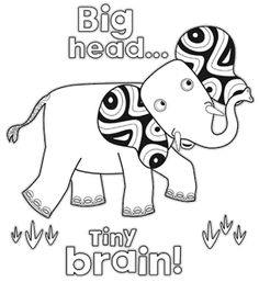 Tinga Tinga Tales. Elephant. Colouring Page.
