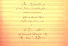 Antonio CALDARA. Don Chisciotte in Corte della Duchessa. Página inicial manuscrita de la partitura de orquesta (Bibl. Nal. de Viena).