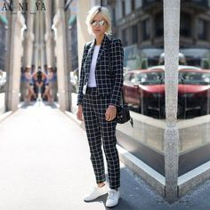 Find More Pant Suits Information about Women Pant Suits Black And White Plaid Women Groom Tuxedos Shawl Lapel Suits For Women One Button Business Women Work Suits,High Quality pant suits,China women's business pant suits Suppliers, Cheap women pant suits from AI NI YA Suits Store on Aliexpress.com