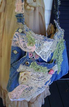 Shabby Chic Denim Lace Bag SALE by TeasHopeChest on Etsy, $40.00