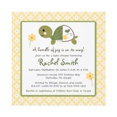 Turtle In Diaper Baby Shower Invitations Yellow
