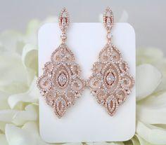 Rose Gold earrings Bridal earrings Wedding by TheExquisiteBride