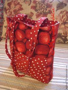"""Сумка """"Яблочный спас"""" - бордовый,рисунок,яблоко,красное яблоко,пляжная сумка"""
