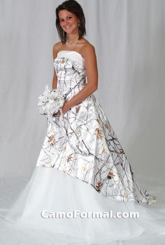 3010 in True Timber White Snowfall with white trim and tulle underskirt/train.