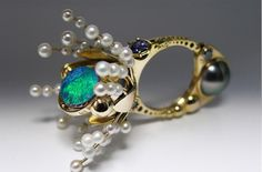 Mystical Flowering by Claudio Pino (14K Gold, Blue Diamonds, Opal, Tanzanites, Tahitian Pearl, Turquoise)