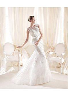 ALLURING TULLE SEQUINS MESH SATIN ILLUSION HIGH NECKLINE NATURAL WAISTLINE MERMAID WEDDING DRESS