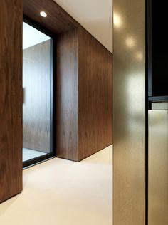 germany 2013 - health - american walnut - puristic - indirect lighting - corridor - golden - wall panel - berlin
