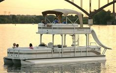 Double Deck Pontoon Boat with Slide! Want it so bad:-)