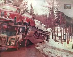Somewhere in Sweden in the 1960′s. A truckload of new SAAB's hits a ditch