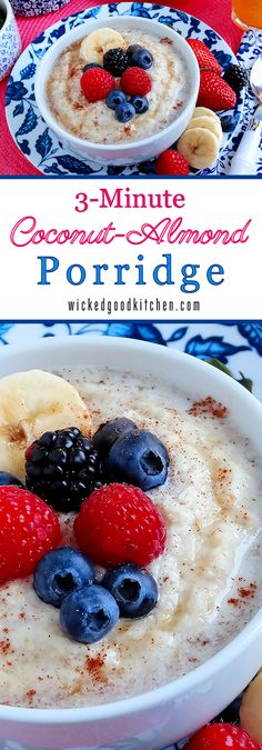 3-Minute Coconut-Almond Porridge {dairy & grain free} by WickedGoodKitchen.com ~ Rich and creamy, satisfying and full of flavor with the familiar hot cereal texture we all love, this tasty porridge is dairy free, grain free, paleo and vegan as well as nutrient rich. It is the ideal healthy quick breakfast—especially during cold winter months, but perfect to start off any day! | breakfast dairy grain free recipe