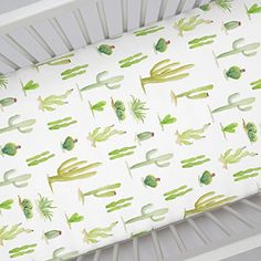 Amazon.com : Carousel Designs Watercolor Cactus Crib Sheet - Organic 100% Cotton Fitted Crib Sheet - Made in the USA : Baby