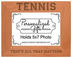 Tennis Player Gifts That's All That Matters Natural Wood Engraved 5x7 Landscape Picture Frame Wood ** Click on the image for additional details.