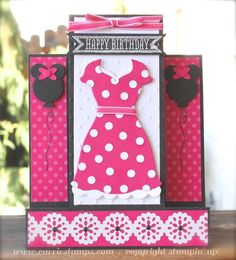 Minnie Mouse Birthday Card using the All Dressed Up Framelits to make a Minnie Mouse dress and Circle punches to make Minnie Mouse Balloons.  www.carriestamps.com