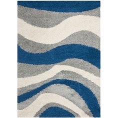 Deco Waves Blue Shag Rug (5'3 x 7'6), $109