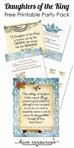 Daughters of the King FREE printable party pack (book quotes, menu cards, invites, bookmarks & more!) available at Hive Resources