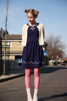 Embroidery Point Navy Mini Dress from THE WHITEPEPPER