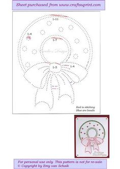 ED111 Christmas wreath on Craftsuprint designed by Emy van Schaik - Stitching with beads - Now available for download!