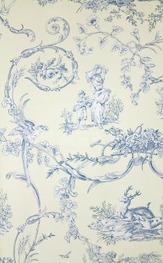 Paysannerie Toile Wallpaper A scenic toile wallpaper with farm workers, pheasants, stags and dogs amongst swirling foliage in blue on cream.