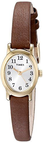 Women's Wrist Watches - Timex Womens T2M567 Cavatina Brass Watch with Brown Leather Strap -- You can find out more details at the link of the image.