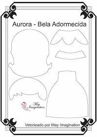 Aurora Princesas com 20 cm Vetorizadas por May Imagination Quiet Book Templates, Felt Templates, Felt Doll Patterns, Stuffed Toys Patterns, Felt Dolls, Paper Dolls, Sock Dolls, Fabric Dolls, Rag Dolls