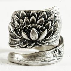 Stunning Pond Lily Sterling Silver Spoon Ring Art by Spoonier