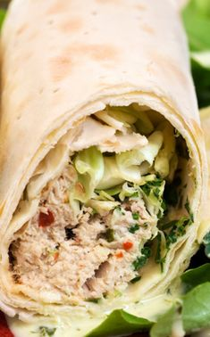Tuna apple salad wraps