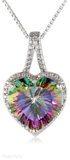 Mystic Fire Topaz Diamond Necklace