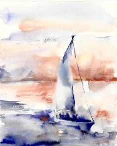 Original Watercolor Painting Seascape with Boat by CanotStop, $78.00