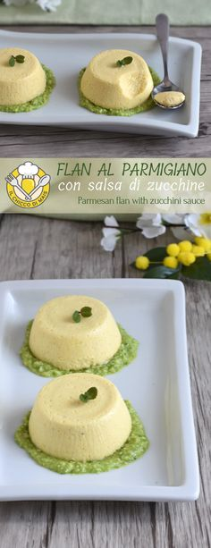 Parmesan flan with zucchini sauce Cooking Chef, Cooking Time, Cooking Recipes, I Love Food, Good Food, Cheese Appetizers, Panna Cotta, Antipasto, Best Dinner Recipes
