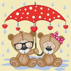 Cute animals and umbrella cartoon vector 07