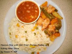 Mexican Rice with Stir-fried Chicken Medley & Kidney Bean Sauce | Fauzia's Kitchen Fun