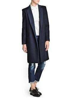 MANGO - CLOTHING - Pinstripe wool-blend coat