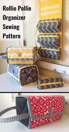 Handy Organizer featuring 4 detachable, zippered pouches that roll up into a secure little package. Sewing pattern. Make one for everyone on your gift list with their favorite color. #affiliate #sewingorganizer