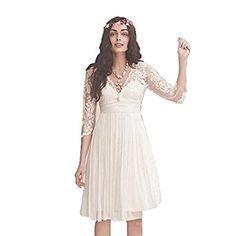 Fenghuavip 3/4 Lace Sleeves V-neck Short Chiffon White Brides Wedding Dress at Amazon Women's Clothing store: