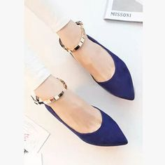 New Metal Chain Pointed Flat Shoes