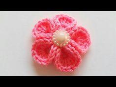 سمسم (4) كروشيه: طريقة عمل وردة سهلة وبسيطة How to Crochet a simple flower - YouTube