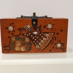 Enid Collins EC Glad Money 60's Wooden Box Bag Angel Coins Purse Copyright 1963 Rhinestones Authentic Designer Bag of Money FREE US Shipping on Etsy, $210.00